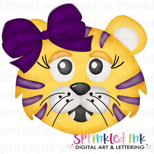 Watercolor PNG |MASCOT| Yellow Tiger with Purple Bow Download File