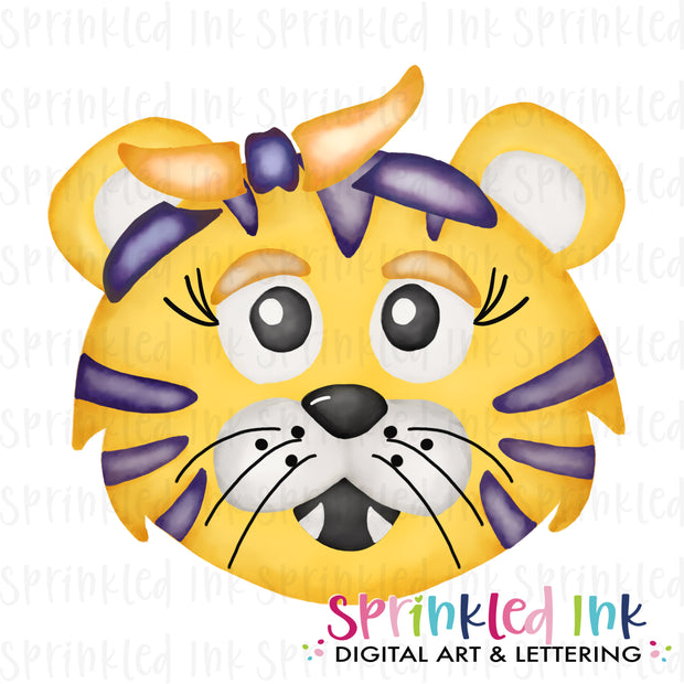 Watercolor PNG |MASCOT| Yellow and Gold Tiger with Bandana Download File