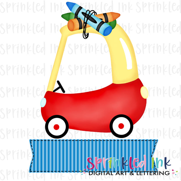 Watercolor PNG Cozy Coupe School Crayons with Blue Name Banner Digital Download File
