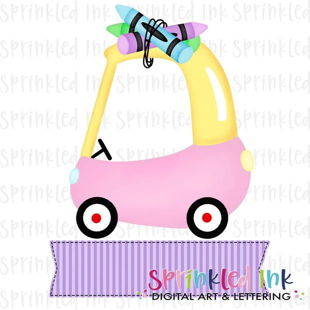 Watercolor PNG Cozy Coupe School Crayons with Purple Name Banner Digital Download File