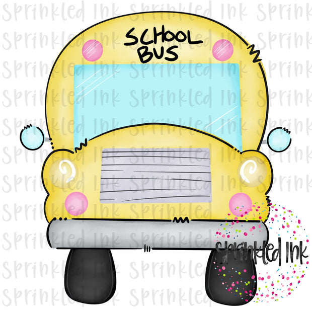 Watercolor PNG School Bus Digital Download File - Sprinkled Ink Digital Designs