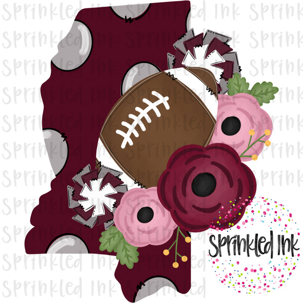 Watercolor PNG MISS Hail State Floral Football State Download File - Sprinkled Ink Digital Designs