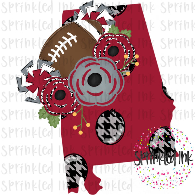 Watercolor PNG Alabama Crimson State Floral Football State Download File - Sprinkled Ink Digital Designs