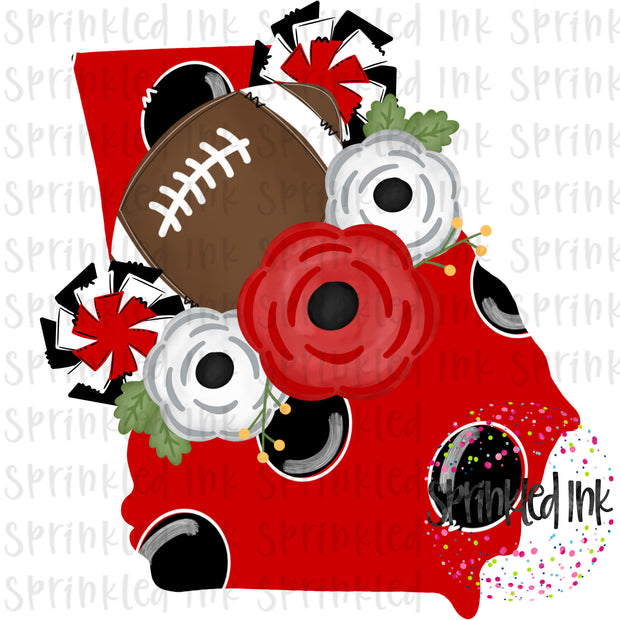 Watercolor PNG Georgia Dawgs Floral Football State Download File - Sprinkled Ink Digital Designs