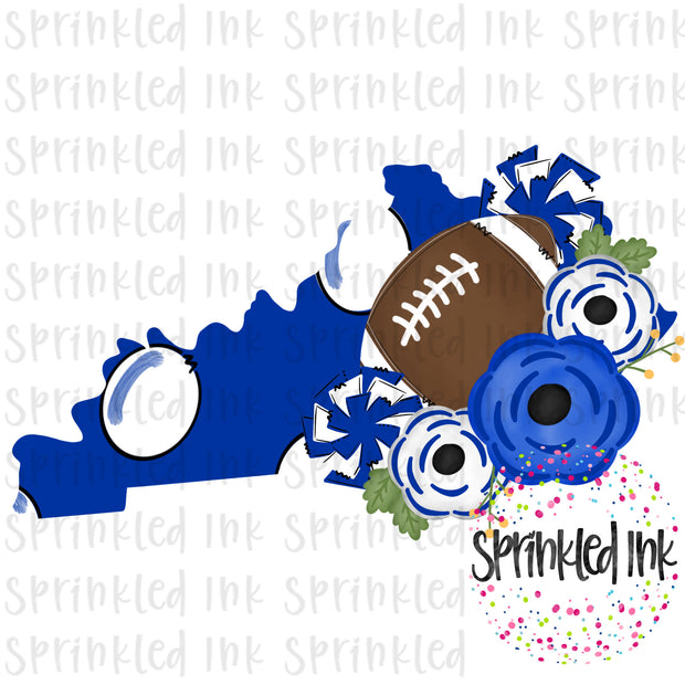 Watercolor PNG Kentucky Wildcats Floral Football State Download File - Sprinkled Ink Digital Designs