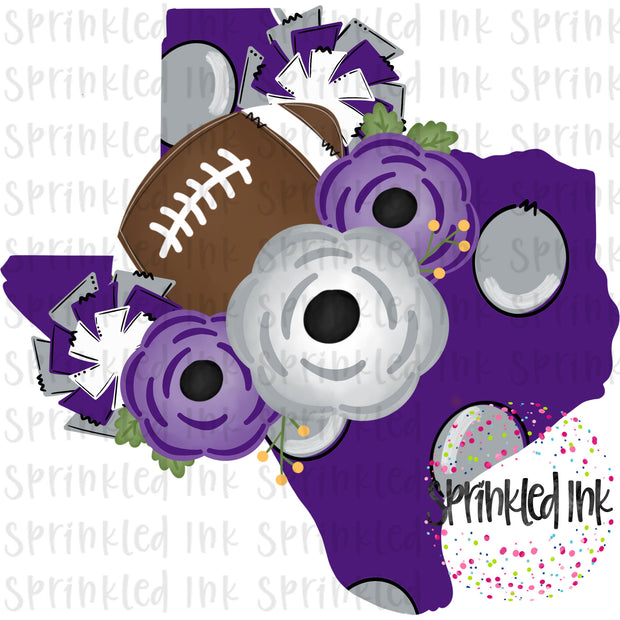 Watercolor PNG TEXAS TCU Purple Grey Floral Football State Download File - Sprinkled Ink Digital Designs