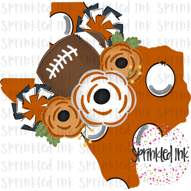 Watercolor PNG TEXAS UT Longhorns Floral Football State Download File - Sprinkled Ink Digital Designs
