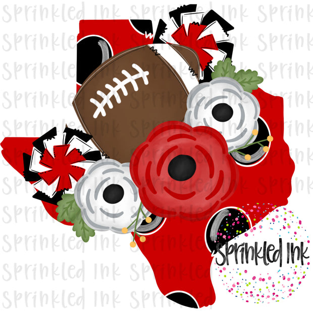 Watercolor PNG TEXAS Tech Black and Red Floral Football State Download File - Sprinkled Ink Digital Designs