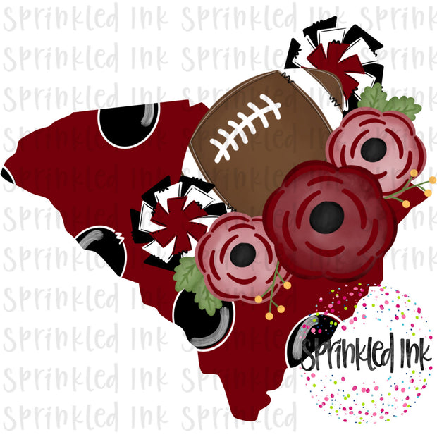 Watercolor PNG South Carolina Garnet and Black Floral Football State Download File - Sprinkled Ink Digital Designs