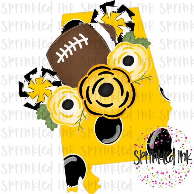 Watercolor PNG Alabama Yellow and Black Floral Football State Download File - Sprinkled Ink Digital Designs