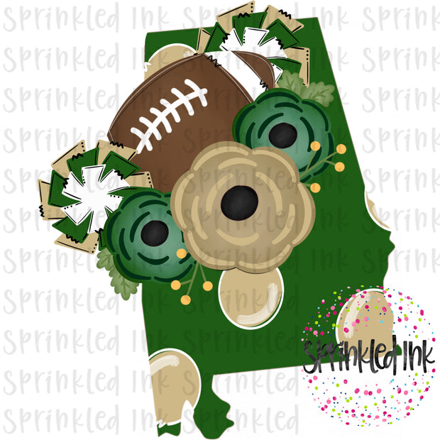 Watercolor PNG Alabama Green and Gold Floral Football State Download File - Sprinkled Ink Digital Designs