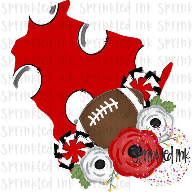 Watercolor PNG Michigan Red and White Floral Football State Download File - Sprinkled Ink Digital Designs