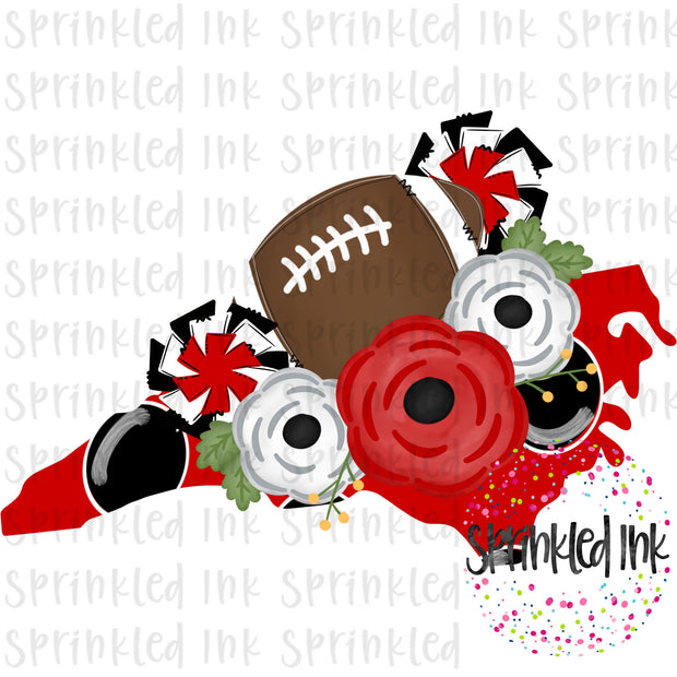 Watercolor PNG North Carolina Red and Black Floral Football State Download File - Sprinkled Ink Digital Designs