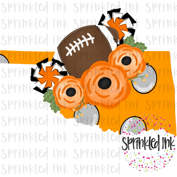 Watercolor PNG Oklahoma Cowboys Floral Football State Download File - Sprinkled Ink Digital Designs