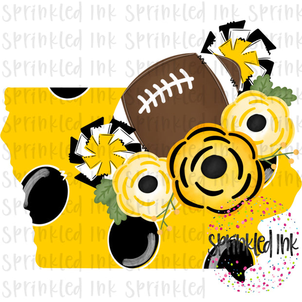 Watercolor PNG Iowa Hawkeye Yellow and Black Floral Football State Download File - Sprinkled Ink Digital Designs