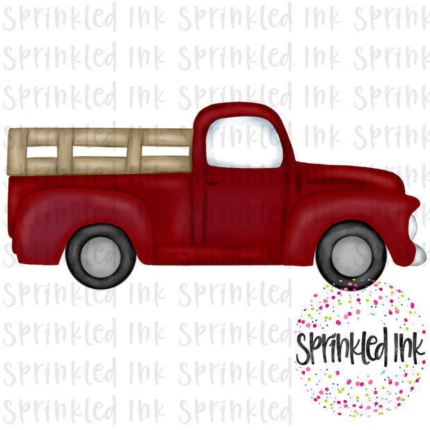 Watercolor PNG Red Vintage Truck Download File - Sprinkled Ink Digital Designs