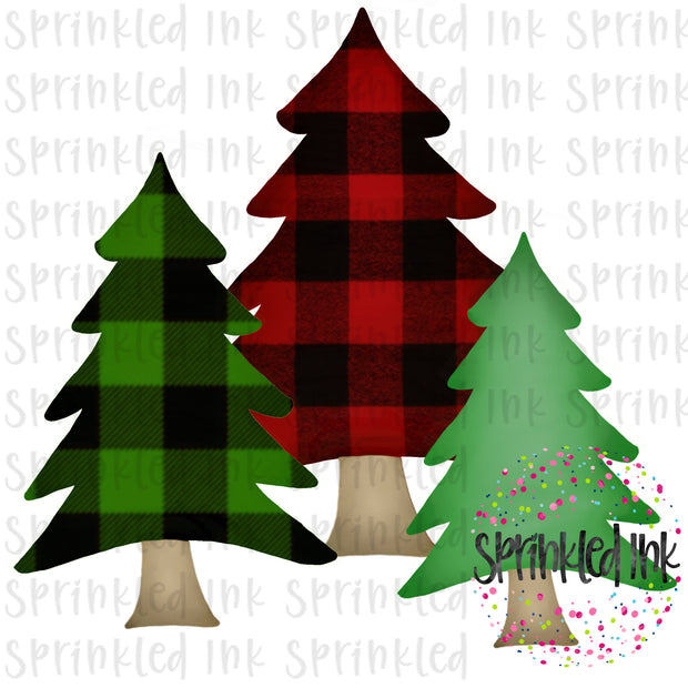 Watercolor PNG Buffalo Check Tree Trio Download File - Sprinkled Ink Digital Designs