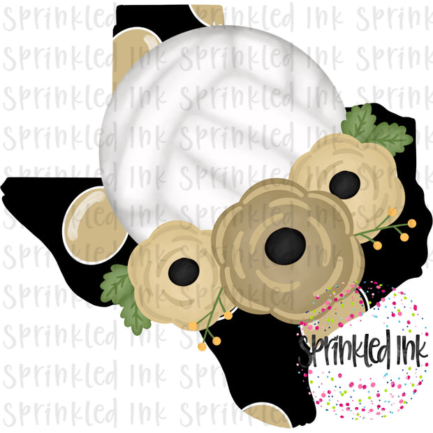 Watercolor PNG TEXAS Black and Gold Floral Volleyball State Download File - Sprinkled Ink Digital Designs