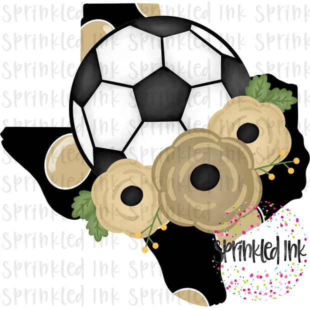 Watercolor PNG TEXAS Black and Gold Floral Soccer State Download File - Sprinkled Ink Digital Designs