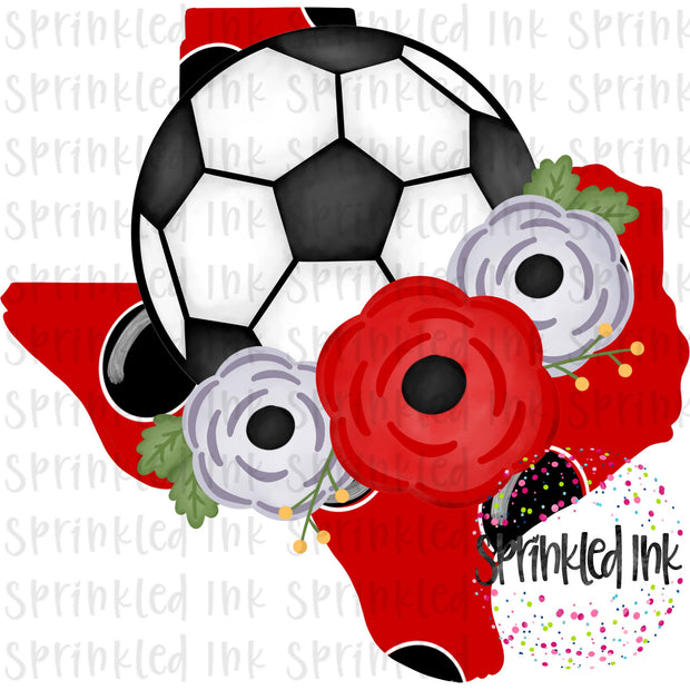 Watercolor PNG TEXAS Tech Black and Red Floral Soccer State Download File - Sprinkled Ink Digital Designs