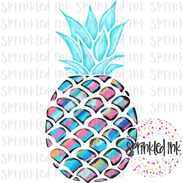 Watercolor PNG LP Abstract Painted Pineapple Download File - Sprinkled Ink Digital Designs