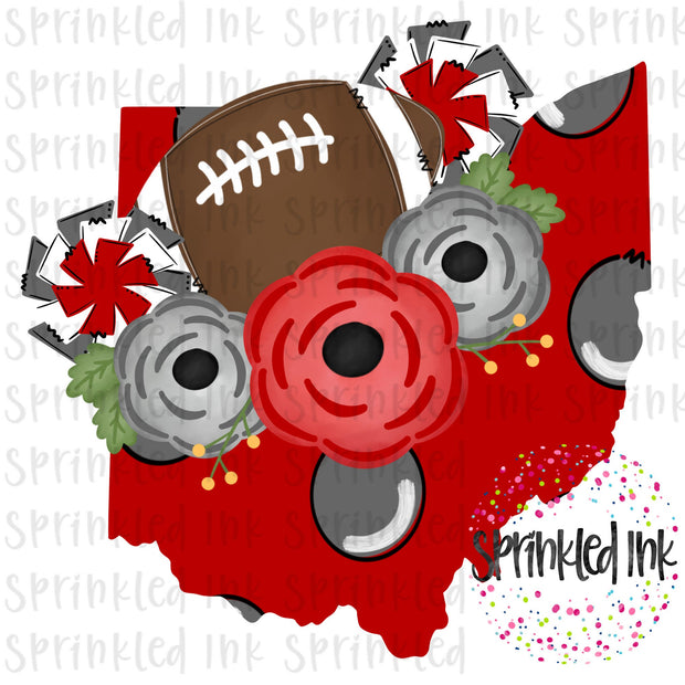 Watercolor PNG OHIO Buckeyes Floral Football State Download File - Sprinkled Ink Digital Designs