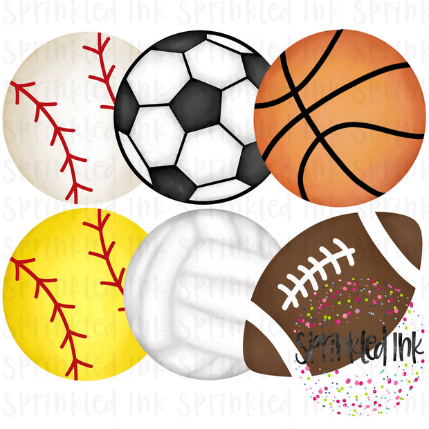Watercolor PNG Sport Ball Set Digital Download File - Sprinkled Ink Digital Designs