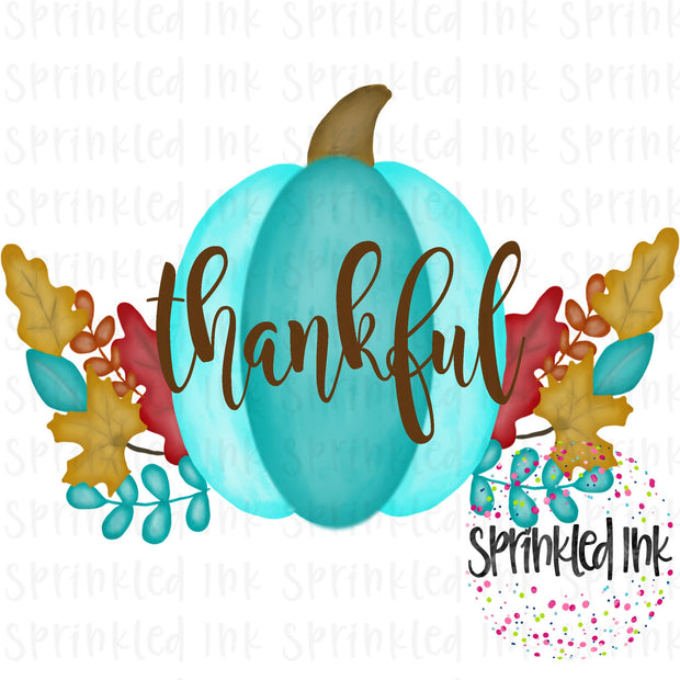 Watercolor PNG Thankful Aqua Fall Pumpkin Download File - Sprinkled Ink Digital Designs