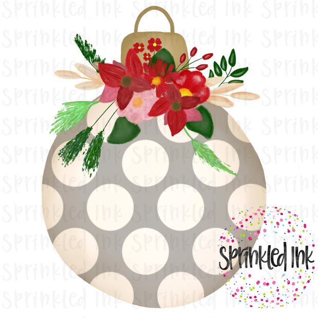 Watercolor PNG Dot Ornament with Christmas Floral Swag Digital Download File - Sprinkled Ink Digital Designs