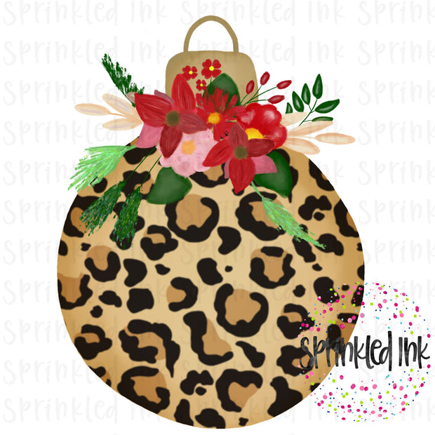 Watercolor PNG Leopard Ornament with Christmas Floral Swag Digital Download File - Sprinkled Ink Digital Designs
