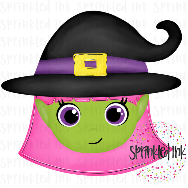 Watercolor PNG Halloween Winnie Witch Digital Download File - Sprinkled Ink Digital Designs
