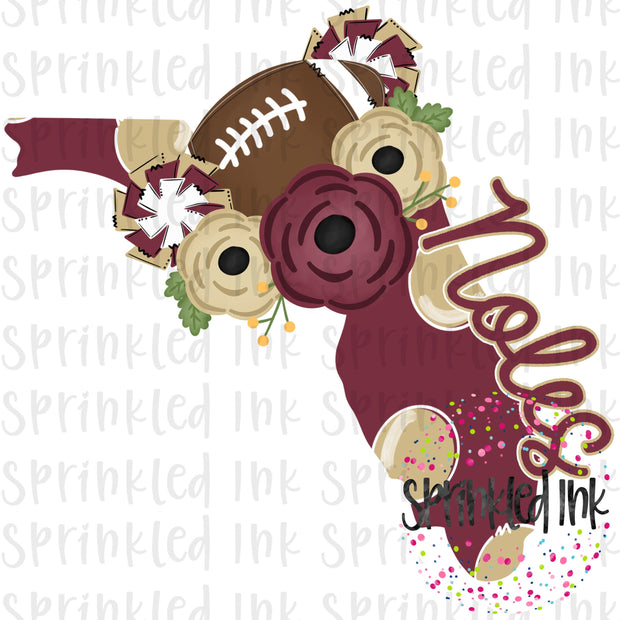 Watercolor PNG Florida FSU Noles Floral Football State Download File - Sprinkled Ink Digital Designs