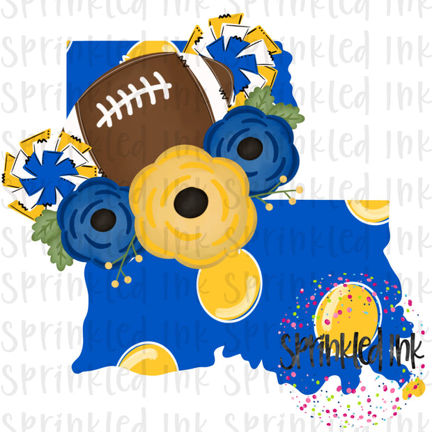 Watercolor PNG LOUISIANA Blue and Gold Floral Football State Download File - Sprinkled Ink Digital Designs