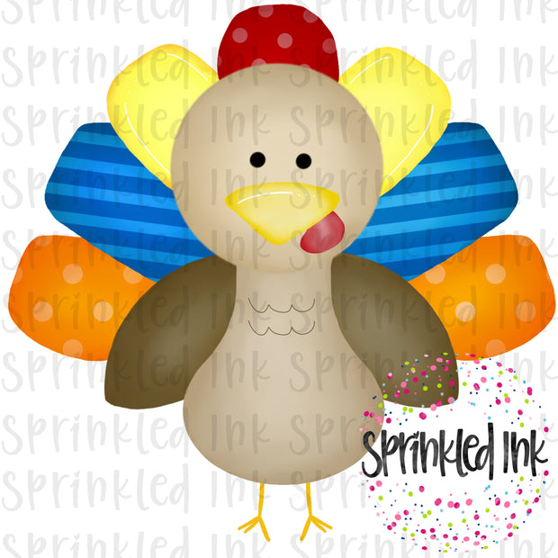 Watercolor PNG Thanksgiving Turkey Boy Digital Download File - Sprinkled Ink Digital Designs