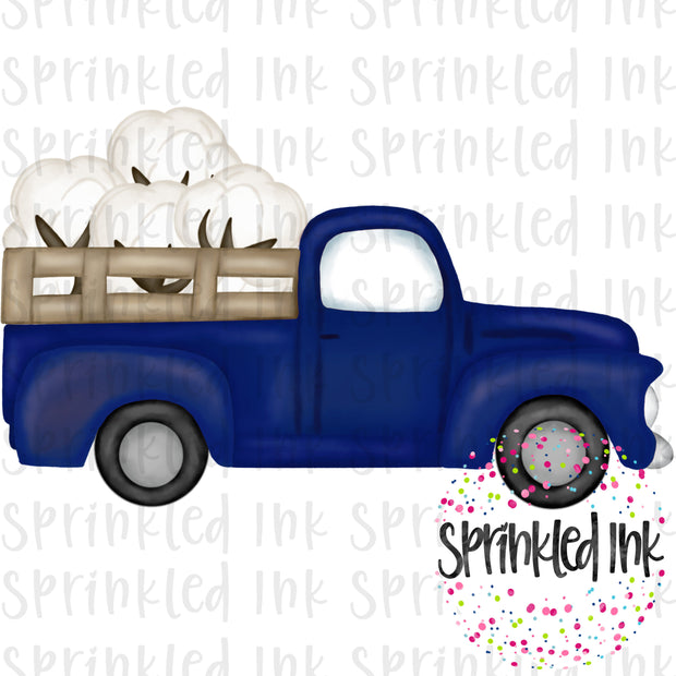 Watercolor PNG Vintage Blue Cotton Boll Truck Download File - Sprinkled Ink Digital Designs