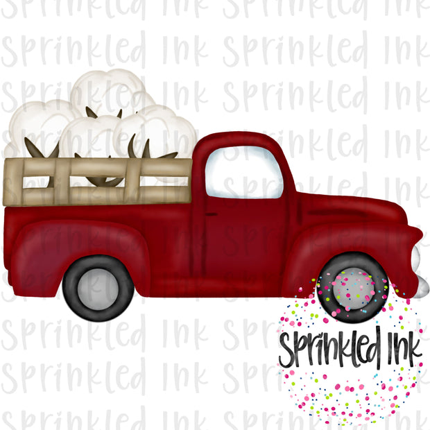 Watercolor PNG Vintage Red Cotton Boll Truck Download File - Sprinkled Ink Digital Designs