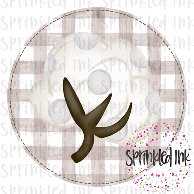 Watercolor PNG Cotton Boll with Faux Applique Background Download File - Sprinkled Ink Digital Designs