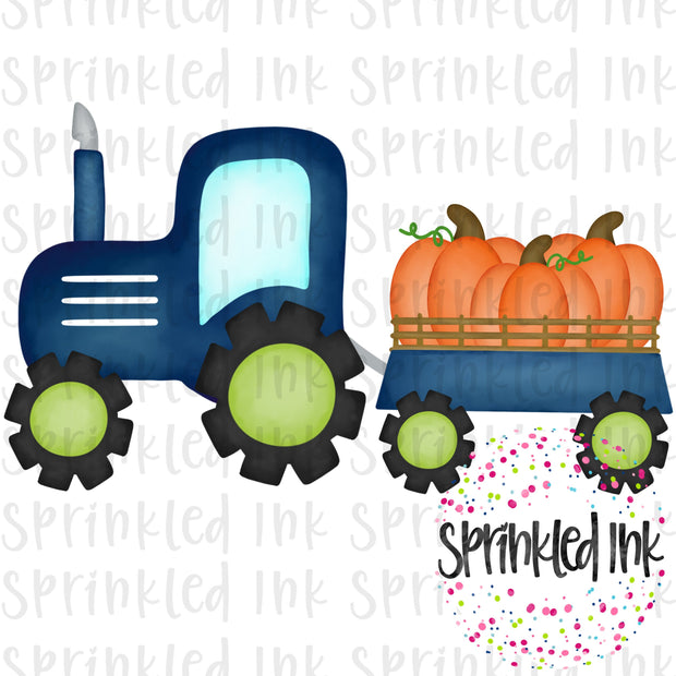 Watercolor PNG Navy Tractor with Pumpkin Trio Download File - Sprinkled Ink Digital Designs