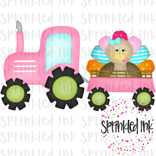 Watercolor PNG Pink Turkey Tractor Digital Download File - Sprinkled Ink Digital Designs