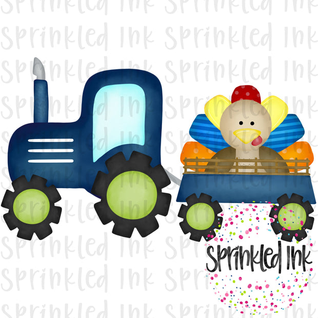 Watercolor PNG Blue Turkey Tractor Digital Download File - Sprinkled Ink Digital Designs