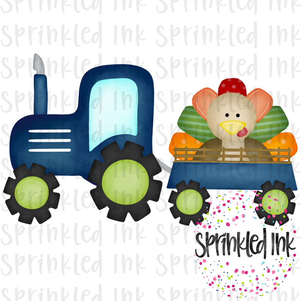 Watercolor PNG Blue Thanksgiving Turkey Tractor Digital Download File - Sprinkled Ink Digital Designs