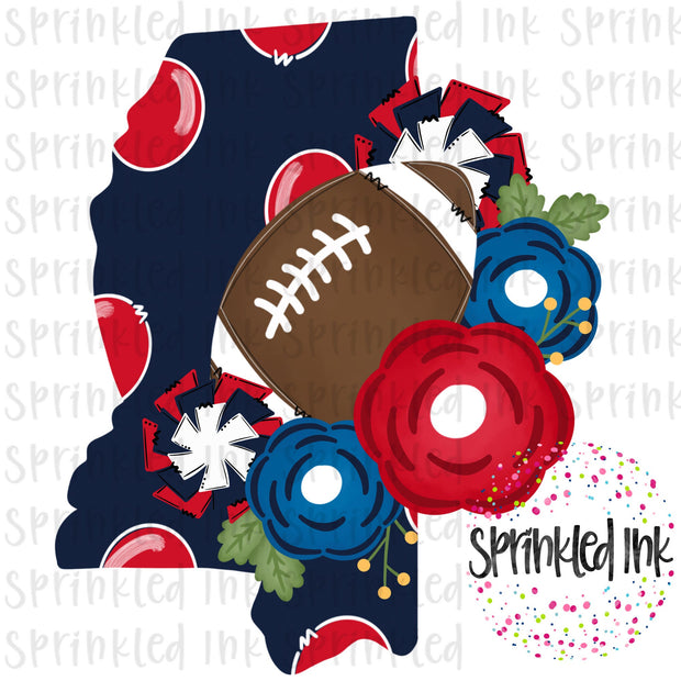 Watercolor PNG MISS UM State Floral Football State Download File - Sprinkled Ink Digital Designs