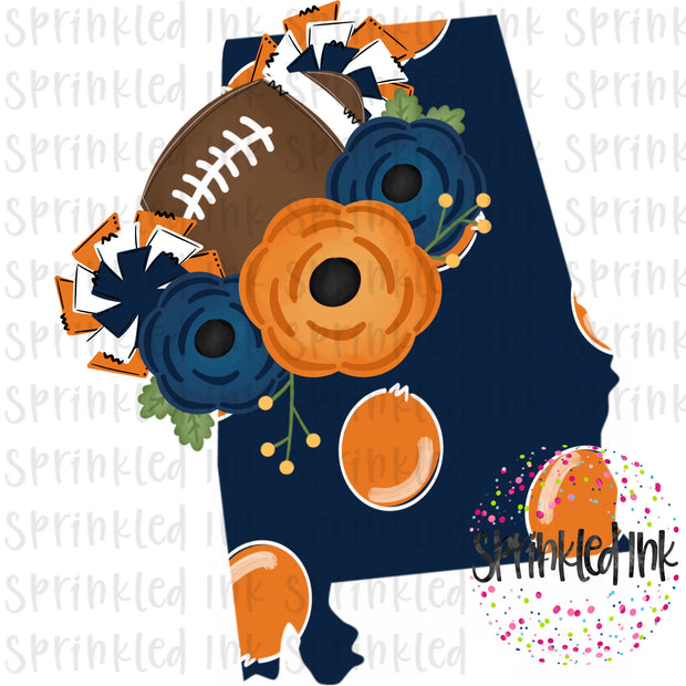 Watercolor PNG Alabama AU State Floral Football State Download File - Sprinkled Ink Digital Designs