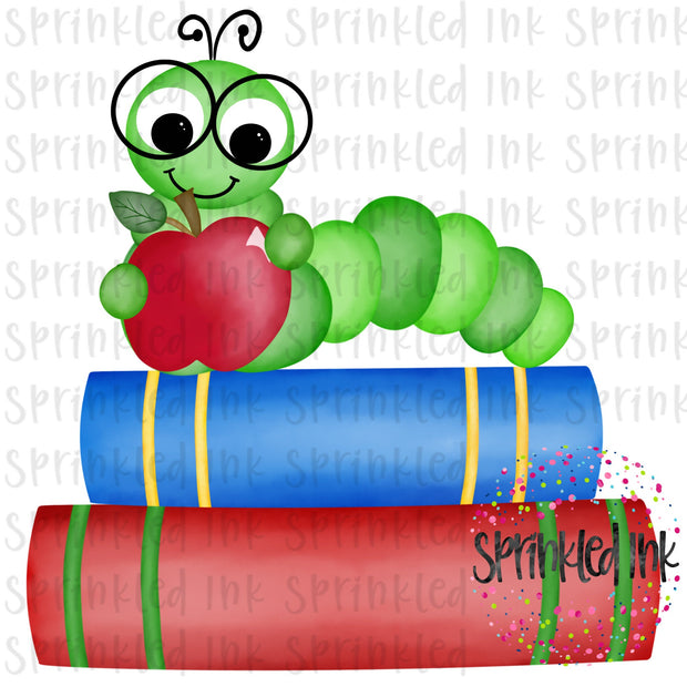 Watercolor PNG Bookworm on Books Digital Download File - Sprinkled Ink Digital Designs