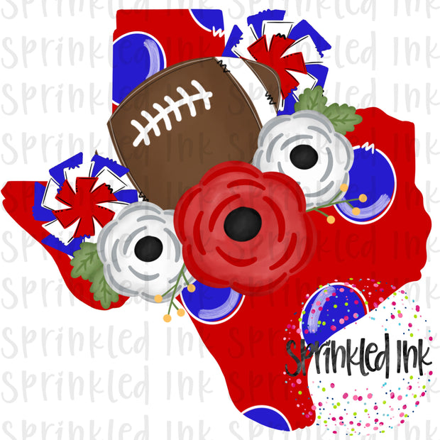 Watercolor PNG TEXAS Red and Royal Blue Floral Football State Download File - Sprinkled Ink Digital Designs