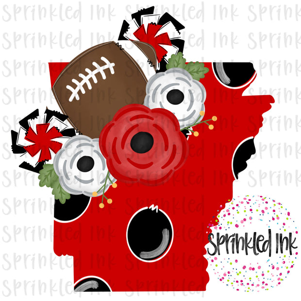 Watercolor PNG Arkansas Soo Pig Floral Football State Download File - Sprinkled Ink Digital Designs