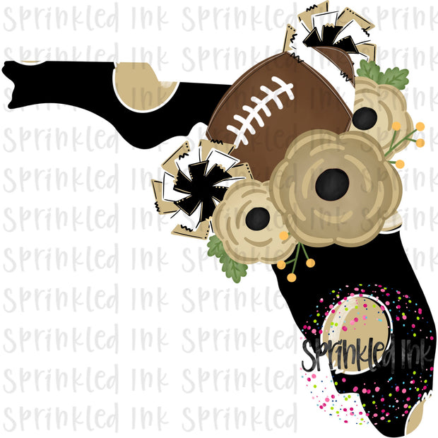Watercolor PNG Florida UCF Knights Floral Football State Download File - Sprinkled Ink Digital Designs