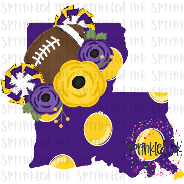 Watercolor PNG LOUISIANA LSU Tigers Floral Football State Download File - Sprinkled Ink Digital Designs
