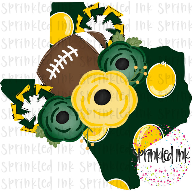 Watercolor PNG TEXAS Baylor Yellow and Green Floral Football State Download File - Sprinkled Ink Digital Designs