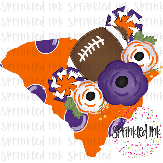 Watercolor PNG South Carolina Clemson Tigers Floral Football State Download File - Sprinkled Ink Digital Designs